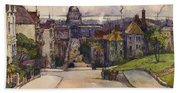 From A Hilltop In San Francisco By  Rowena Meeks Abdy Early California Artist C 1906 Bath Towel