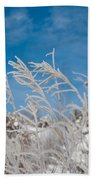Frost Covered Grasses Against The Sky Bath Towel