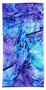 Frozen Castle Window Blue Abstract Bath Towel