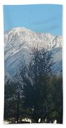 Frosty Mountain Top View From Rancho Cucamonga Ca. Bath Towel