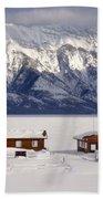 Lake Minnewanka, Alberta - Banff - Frozen Docks Bath Towel