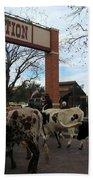 Ft Worth Trail Ride At Ft Worth Stockyard Bath Towel