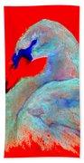 Funky Swan Blue On Red Bath Towel