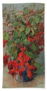 Fushia And Snapdragon In A Vase Bath Towel
