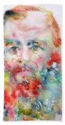 Fyodor Dostoyevsky - Watercolor Portrait.4 Bath Towel
