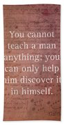 Galileo Quote Science Astronomy Math Physics Inspirational Words On Canvas Bath Towel