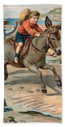 Galloping Donkey At The Beach Bath Towel