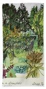Garden In Llandielo, 1999 Watercolour On Paper Bath Towel