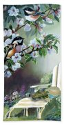 Chickadees In Blossom Tree Bath Towel