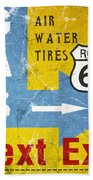 Gas Next Exit- Route 66 Bath Towel