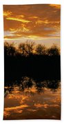 Geese Fly In The Sunset Bath Towel