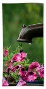 Gentle Rain - Old Water Pump - Pink Petunias - Casper Wyoming Bath Towel