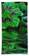 Geranium Leaves - Reflections On Pond Bath Towel