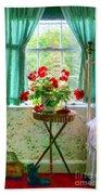 Geraniums In The Bedroom Hand Towel