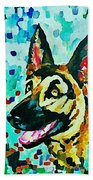 German Shepard Watercolor Bath Towel