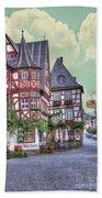 German Village Along Rhine River Bath Towel