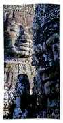 Gigantic Face Statues At Khmer Temple Angkor Wat Ruins Cambodi Bath Towel