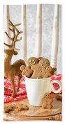 Gingerbread Family At Christmas Bath Towel