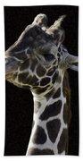 Giraffe In The Morning Pixelated Bath Towel