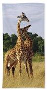 Giraffe Males Sparring Masai Mara Kenya Bath Towel