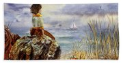 Girl And The Ocean Sitting On The Rock Bath Towel