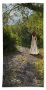 Girl In Country Lane Bath Towel