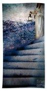 Girl In Nightgown On Circular Stone Steps Bath Towel