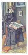 Girl Reading A Book Bath Towel