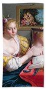 Girl With A Mirror, An Allegory Bath Towel