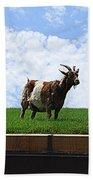 Goat On A Sod Roof In Sister Bay In Wisconsin Bath Towel