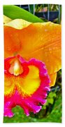 Gold And Pink Orchid At Maerim Orchid Farm In Chiang Mai-thailan Bath Towel