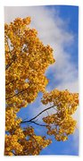 Golden Autumn Leaves And Blue Sky Bath Towel