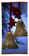 Golden Bells Red Greeting Card Bath Towel