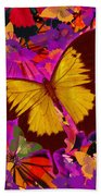 Golden Butterfly Painting Bath Towel
