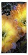 Golden Cactus Flowers  Bath Towel
