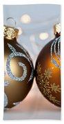 Golden Christmas Ornaments Hand Towel