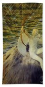 Golden Cupid Valentine Card Bath Towel