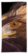 Golden Eagle Close Up Painting By Carolyn Bennett Bath Towel