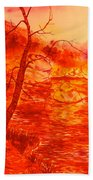 Golden Mountain Lake Morning  Bath Towel