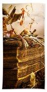 Golden Pages Falling Flowers Bath Towel