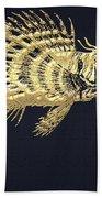 Golden Parrot Fish On Charcoal Black Bath Towel