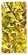 Golden Pecan Leaves Abstract Bath Towel