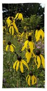 Golden Prairie Coneflower Watercolor Effect Bath Towel