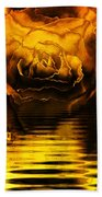 Golden Rose On The Lake Bath Towel