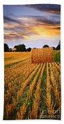 Golden Sunset Over Farm Field In Ontario Bath Towel