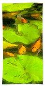 On Goldfish Pond Artwork Bath Towel