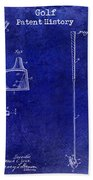 Golf Patent History Drawing Blue Bath Towel