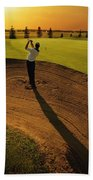 Golfer Taking A Swing From A Golf Bunker Hand Towel
