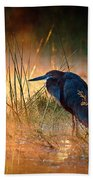 Goliath Heron With Sunrise Over Misty River Bath Towel