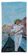 Gondolier At Venice Italy Bath Sheet